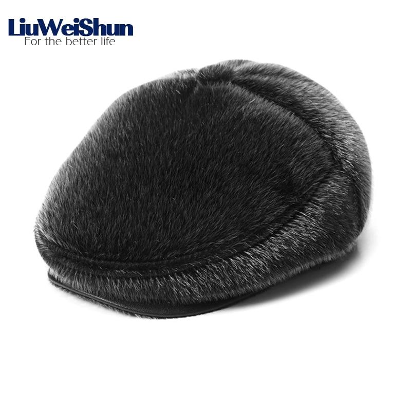 02fc22084 Classic Faux Fur Winter Berets Cap Hats Men Russia Newsboy Hat with Earflaps  Retro Warm Duckbill Cap Visor Peaked Hat Flat cap-in Berets from Apparel ...