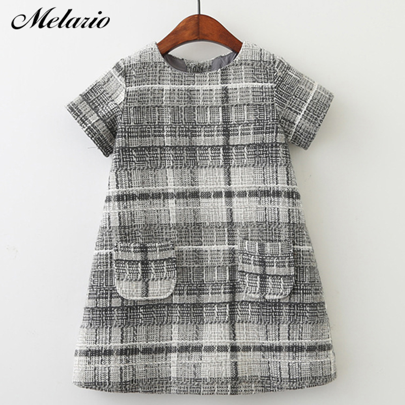 Melario Girls Dress 2018 Brand Autumn Girls Clothes O-neck Plaid Pocket Design for Children Clothing 3-7Y Kids Princess Dresses jomake girls dress 2017 new winter cute watermelon printed kids dresses for girls fleece princess dress children clothing 2 7y