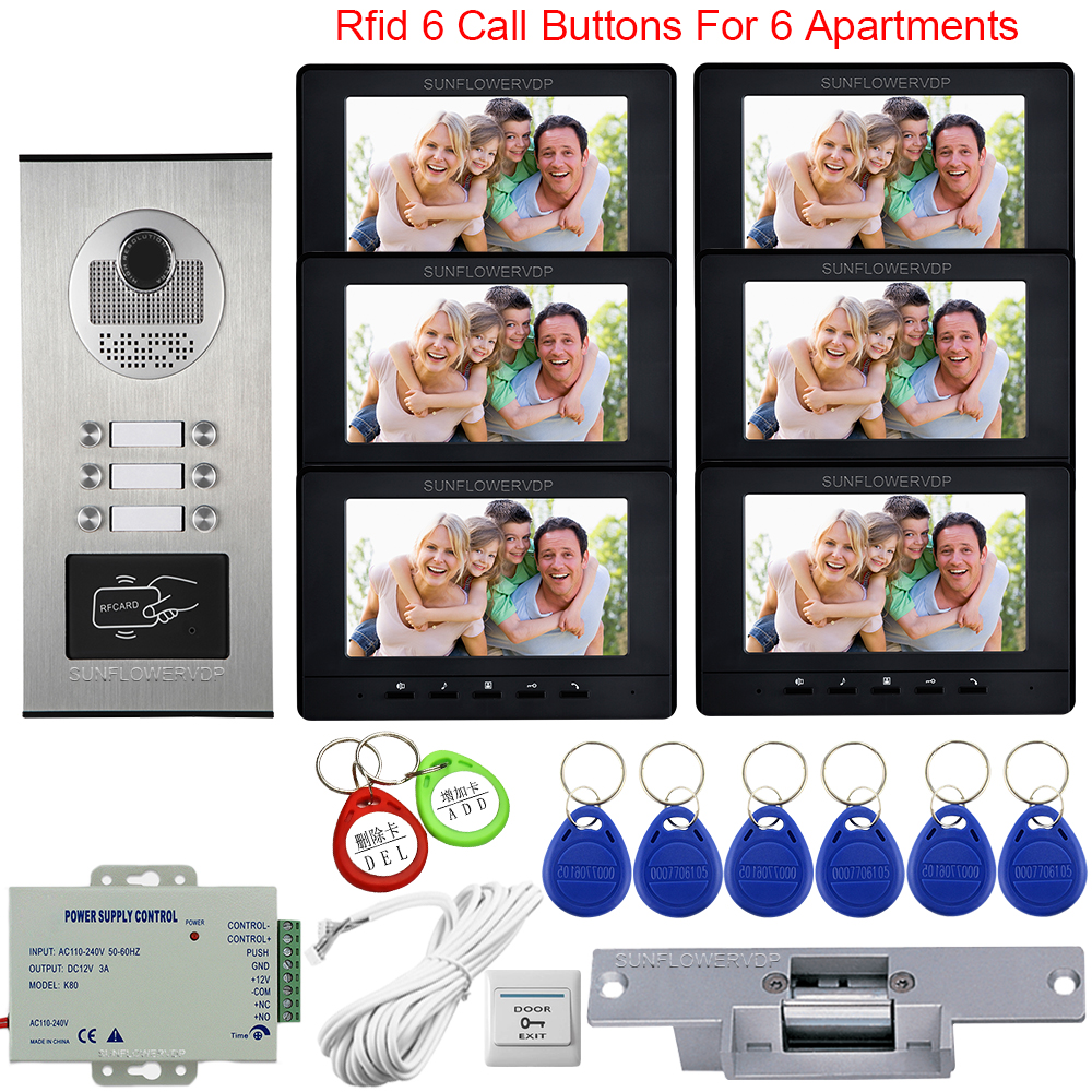 For 6 Apartments Access Control Video Door Entry System For Home Doorphone Call Panel 7inch Video Intercom +Electric Strike Lock