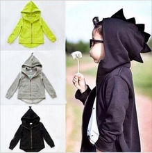 Helen115 Casual Kids Baby Boys Girls Long Sleeve Cotton Dinosaur Jacket Coat Hooded 1-7Years