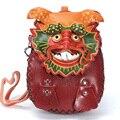Hecho a mano de Cuero Partido de La Moneda Cartera Del Mitón Del bolso con forma de animales bolsas monedero carpeta de la historieta cero Chino loong Dragón monedero