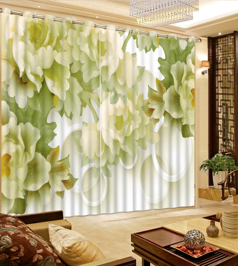 Jade carving flower 3D Curtains Used for Living Room bedroom curtains decoration window high shading blackout curtain  Jade carving flower 3D Curtains Used for Living Room bedroom curtains decoration window high shading blackout curtain