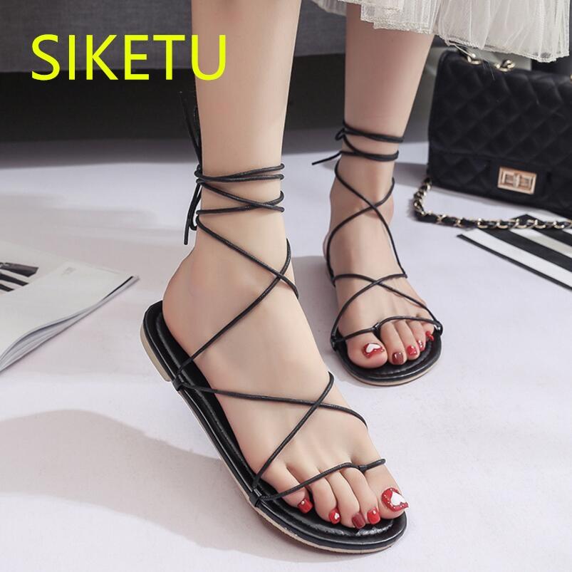 SIKETU Free shipping Summer sandals Fashion casual shoes sex women shoes flip flop Flat shoes Flats l007 Rome Bandages Beach цена и фото