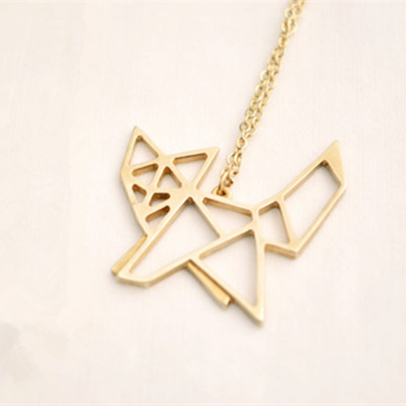 30pcs Personalized Fashion Designer Cute Origami Fox Pendant Necklace Simple Animal Jewelry In Gold Silver Plated Accessories