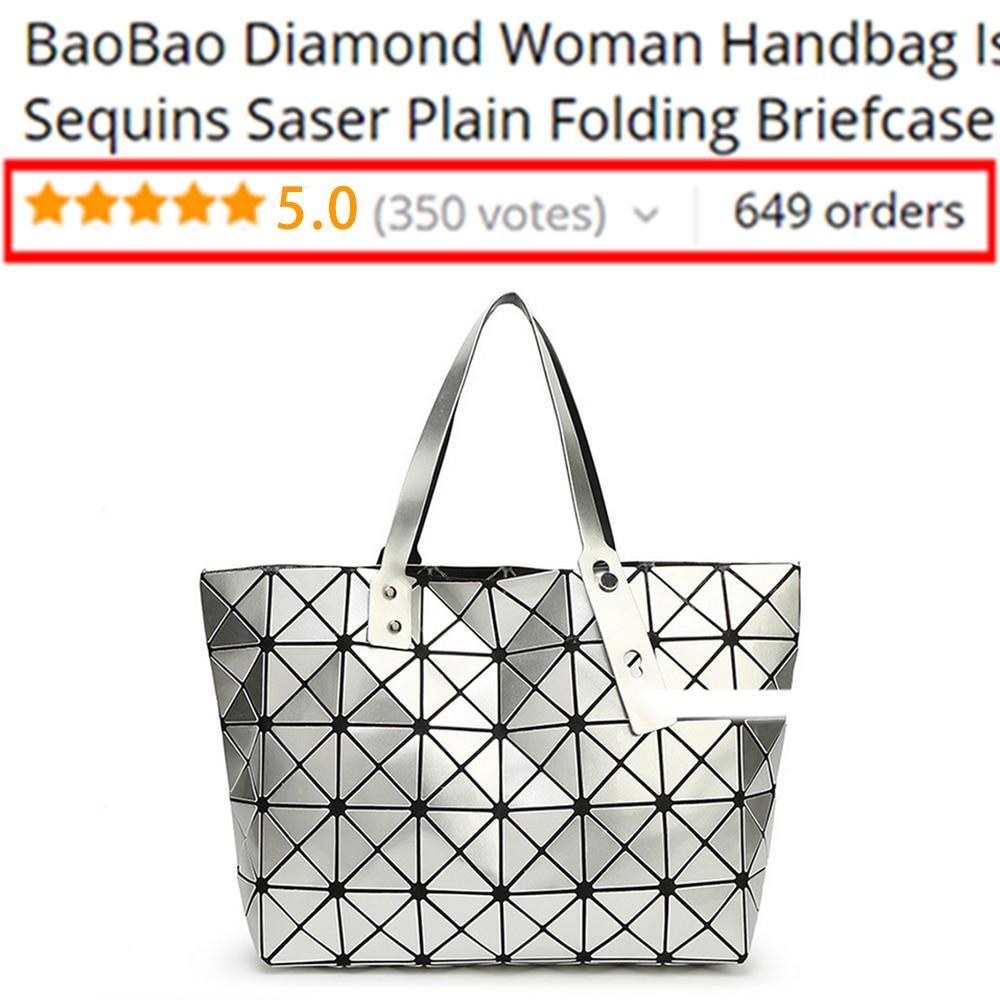 BaoBao Diamond Woman Handbag Issey Miyak Plaid bag Tote Geometry Sequins Saser Plain Folding Briefcase Shoulder Bolso with Logo