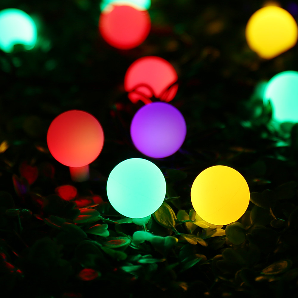 aliexpresscom buy globe solar powered christmas lights 21ft 50led multi color ball string lights decorative lights for indooroutdoorgardenparty from
