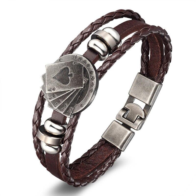 18 New Fashion 3 layer Leather Skull Bracelets&Bangles Handmade Round Rope Turn Buckle Bracelet For Women Men Charm bracelet 21