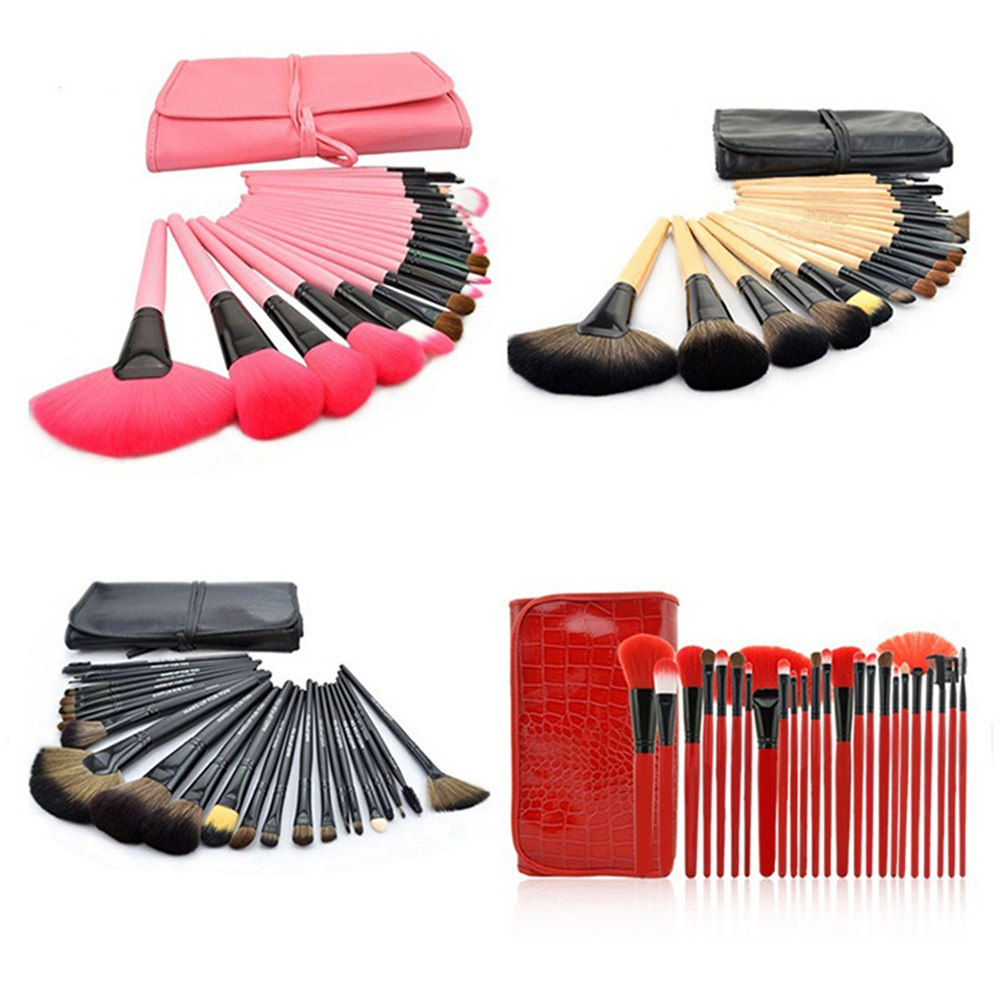 24 Pcs Wood Wool Fiber Makeup Brushes Set Professional High Quality Makeup Tools Kit Cosmetic Synthetic Hair With PU Bag Case