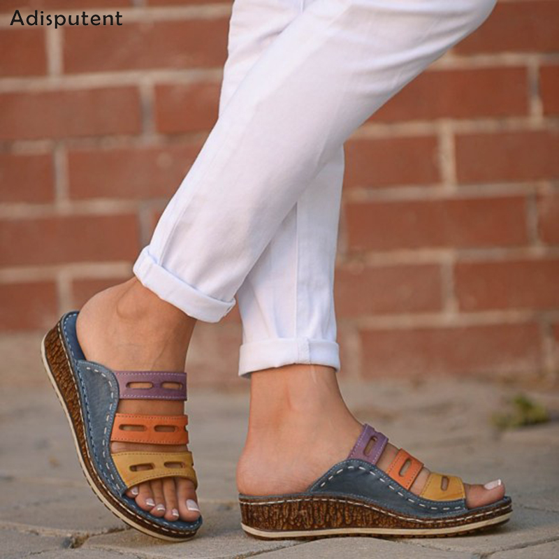 ADISPUTENT Women Sandals 3 Colors Stitching Sandals Summer Ladies Open Toe Casual Shoes Platform Wedges Slide Beach Woman Shoe