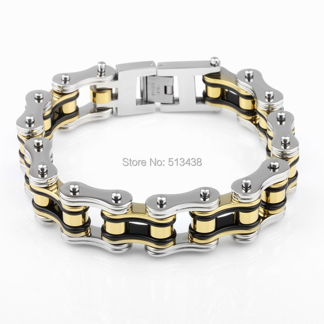 116g weight 19mm Bikers Motorcycle Chain Mens Tri color Bracelet