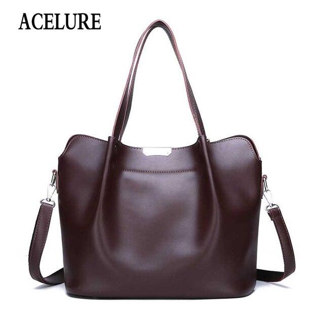 5364ad93ec ACELURE Vintage PU cuir femmes sac à bandoulière sacs à main Designer  décontracté Messenger sac grande capacité femme Totes Bolsos