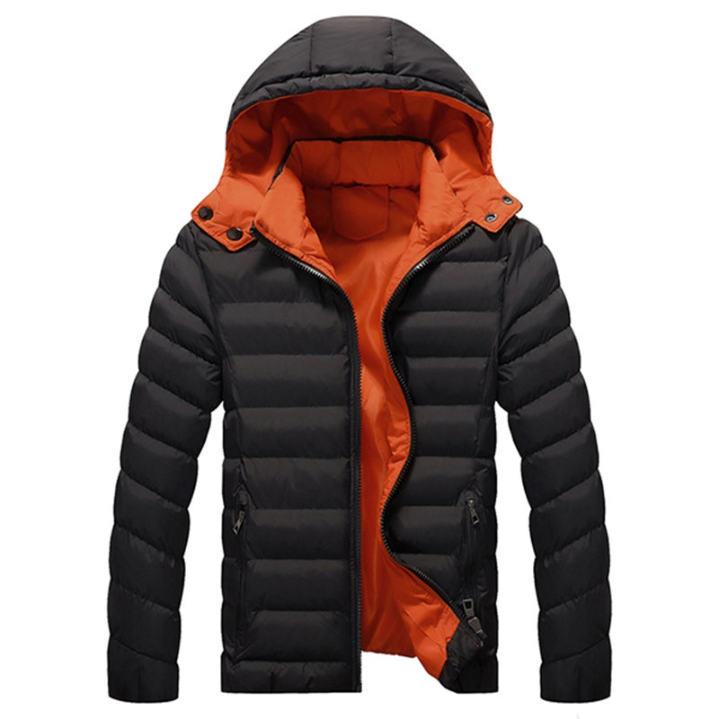 ФОТО 2017 Men Warm Winter Fashion Jackets Casual Hooded Solid Color Parka Dawn Jacket Plus Size L-4XL Men Hat Detachable Outwear
