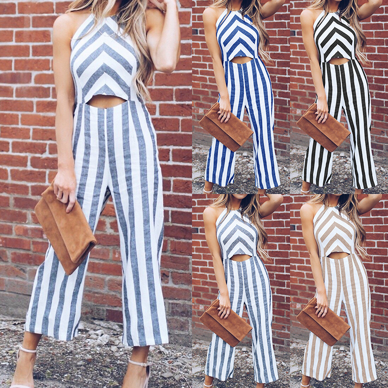 Women Fashion Front Hollow Jumpsuits Femme Loose Striped Loose Rompers Wide Leg Trousers Halter Neck Sleeveless Summer Jumpsuit