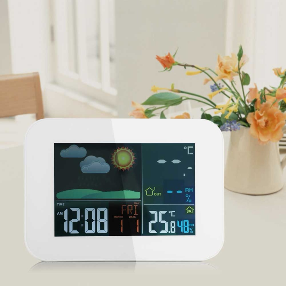 Digital Weather Station Colorful LCD Wireless Weather Station Alarm Clock Outdoor Indoor Temperature Humidity lcd digital temperature humidity moisture meter weather station indoor