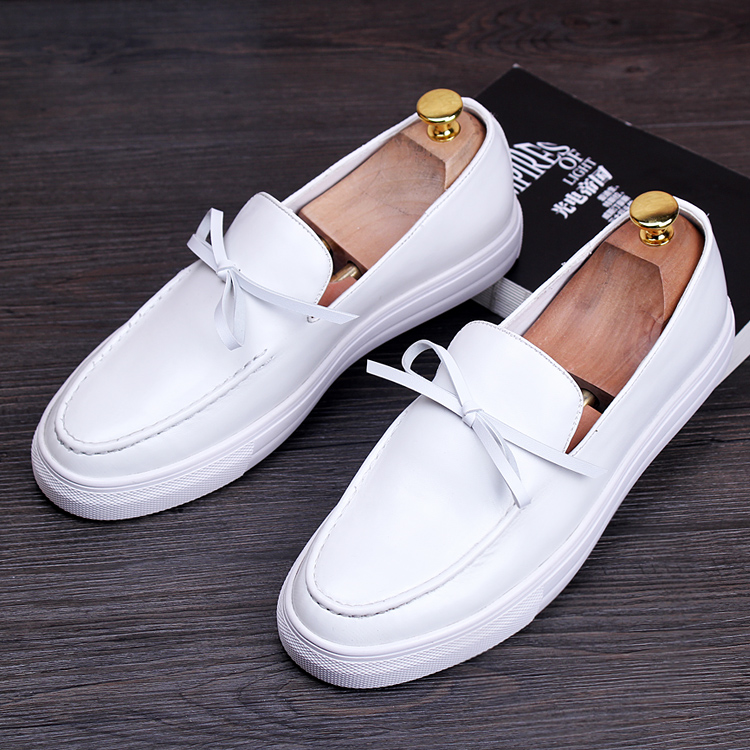 ERRFC New Arrival Simple Design White Leather Shoes Fashion Mens Causal Comfort Loafer Shoes Round Toe