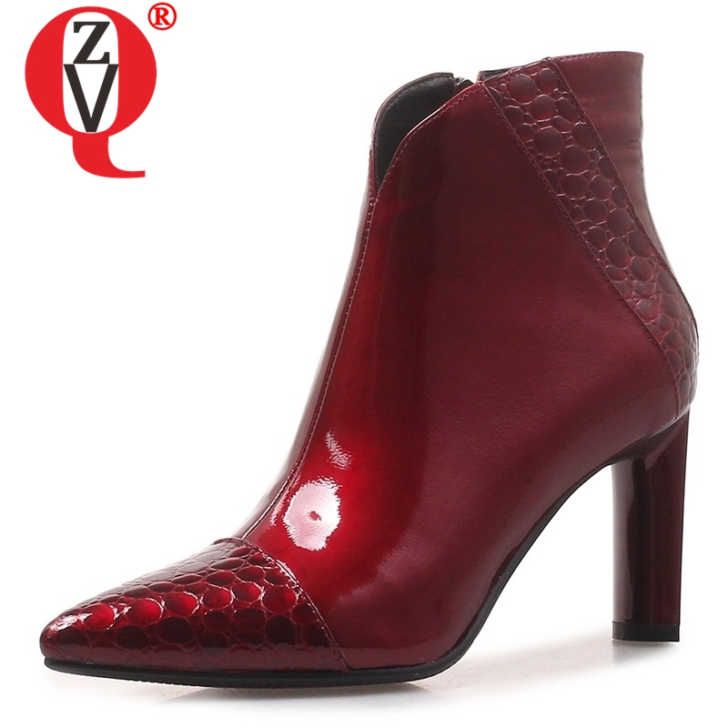 ZVQ 2019 winter new fashion sexy black and wine red party ankle boots suepr high strange