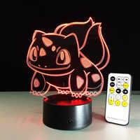 Pokemon Go Action Figure Bulbasaur 3D RGB lampe Illusion visuelle LED vacances noël cadeaux nuit lumière livraison directe enfants cadeau
