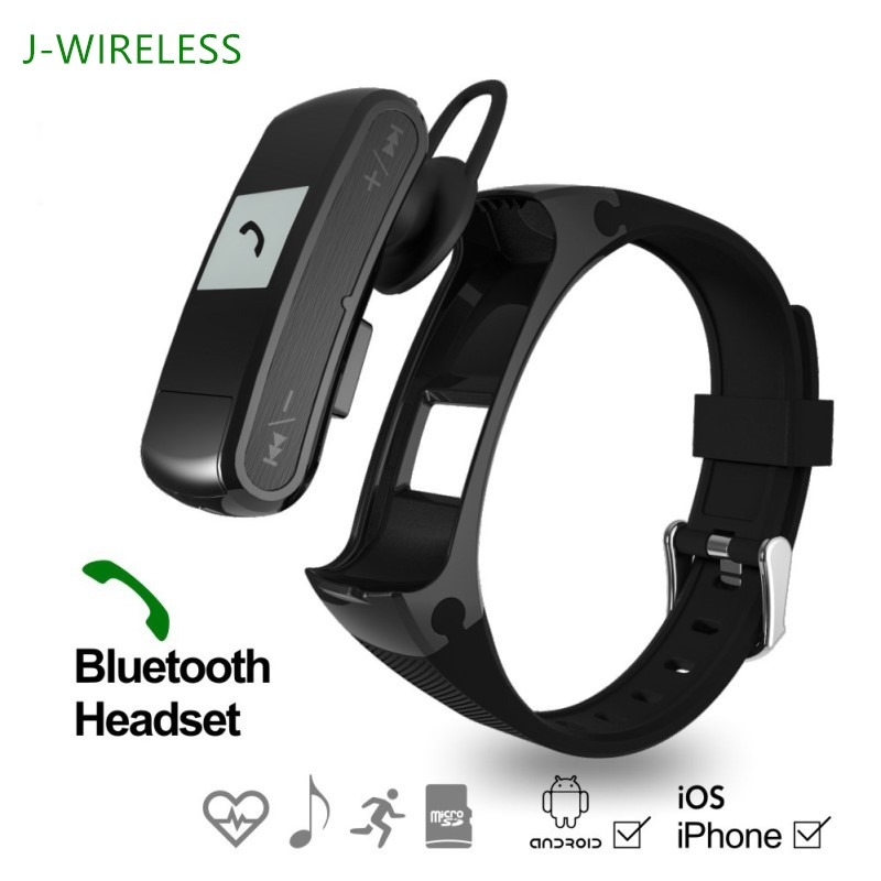 imágenes para Jwireless F50 Sport Fitness Rastreador Pulsera Bluetooth Heart Rate Monitor Podómetro MP3 player Auricular Para Android iOS Sistema