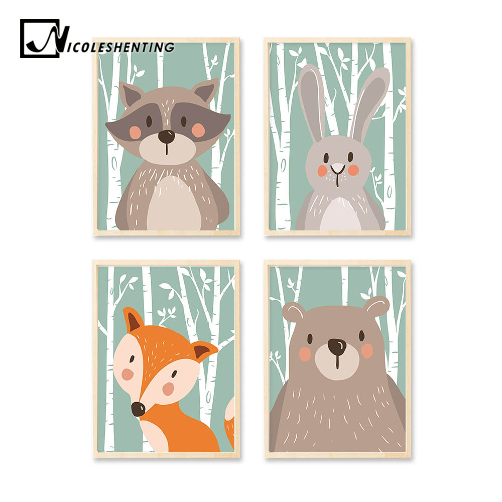 Woodland Animal Rabbit Bear Fox Minimalistisk Konst Canvas Poster Måla Nursery Picture Print Modern Hem Barn Rum Decor