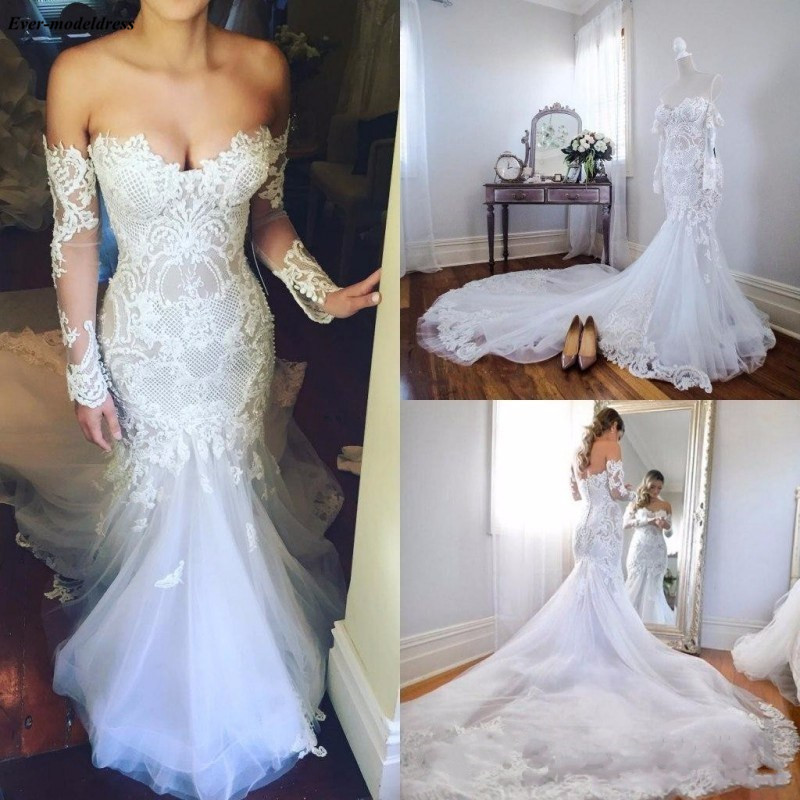 Luxury Long Sleeves Mermaid Wedding Dresses Off The Shoulder Lace Appliques Country Style Bridal Gowns Court Train 2019 Vestido