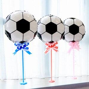 Image 5 - 13 sztuk/partia 18 calowy okrągły piłka nożna balony foliowe dziecko urodziny gym Party piłka nożna Helium Globos 10 cal biały czarny lateks...
