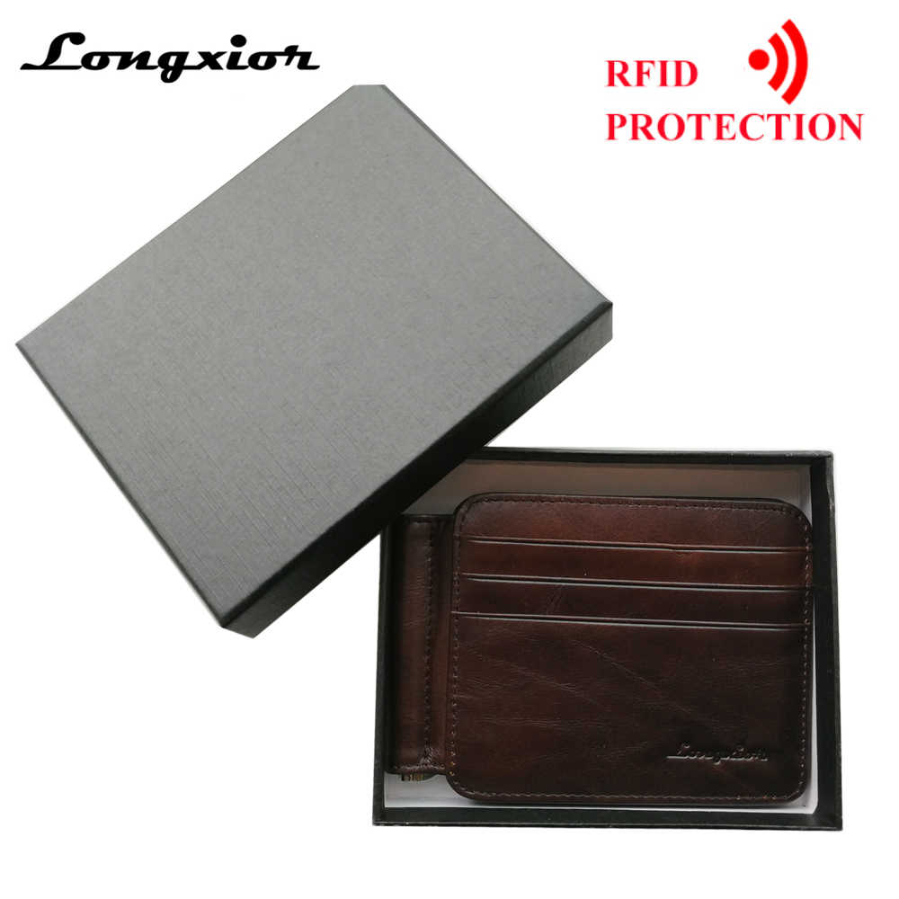 c590b8bfaf RFID BLOCKING 2019 New Leather Money Clip Metal Wallet Men Thin Billfold  Folded Clamp for Money Credit Cash Clips