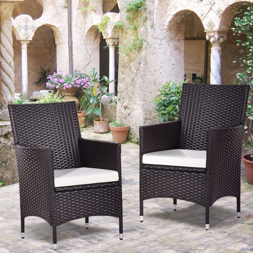 Set Of Pcs Patio Chairs Rattan Wicker Dining Arm Seat Cushions Indoor  Outdoor Furniture Lounge Garden Chairs Hw Aliexpress With With Lounge Mbel  Outdoor ...
