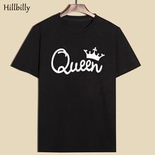 2017 Summer Short Sleeve Printing Letter Black Cotton Girl friend T shirt street Clothing Tops Tee Women's Queen Crown T-shirt