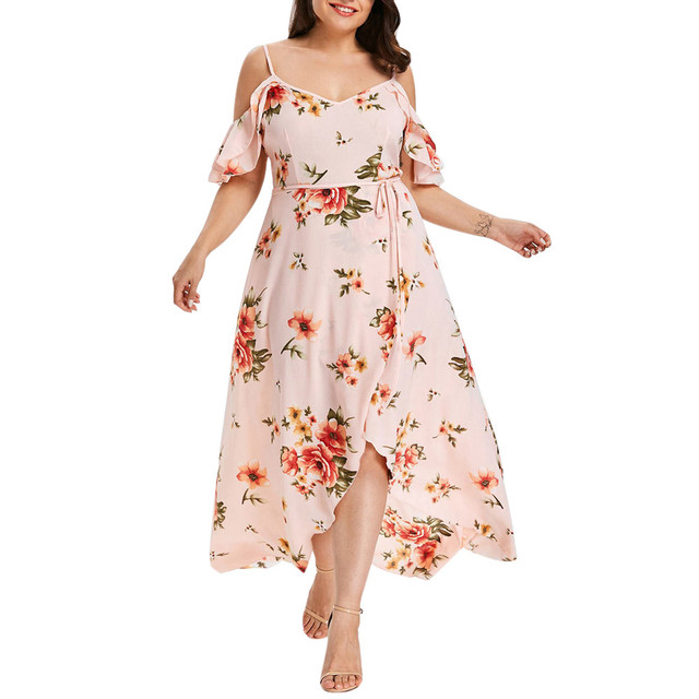 Plus Size 5XL Off Shoudler Boho Dress Ruffle Beach Flower strap Summer Dress Floral Print Tunic Maxi Long Dresses Big Size