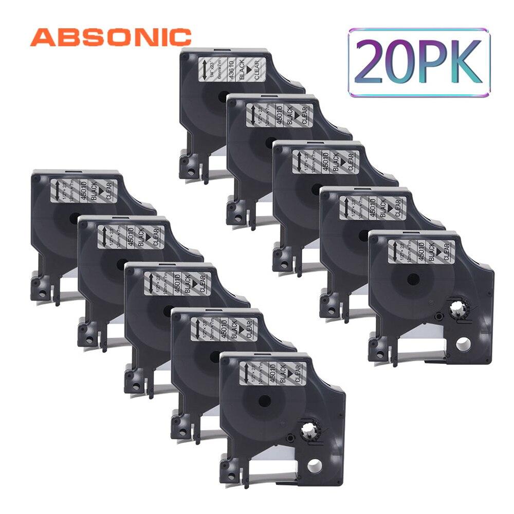 Absonic 20 pièces 12mm x 7m noir sur clair DYMO D1 45010 recharge étiquette ruban pour Dymo LabelManager 160 210D 280 PC2 PnP imprimante d'étiquettes|Rubans encreurs| |  -