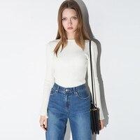 Белый Повседневное Для женщин футболка в полоску с длинными рукавами с расклешенными рукавами футболка Для женщин корейский стиль Camisa feminina...