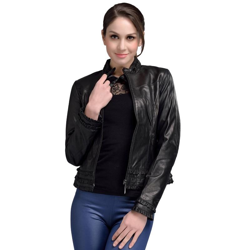 2017 Spring Guaranteed Genuine Leather Jacket Woman Black Stand Collar Elegant Sheepskin Leather Jacket Short Plus
