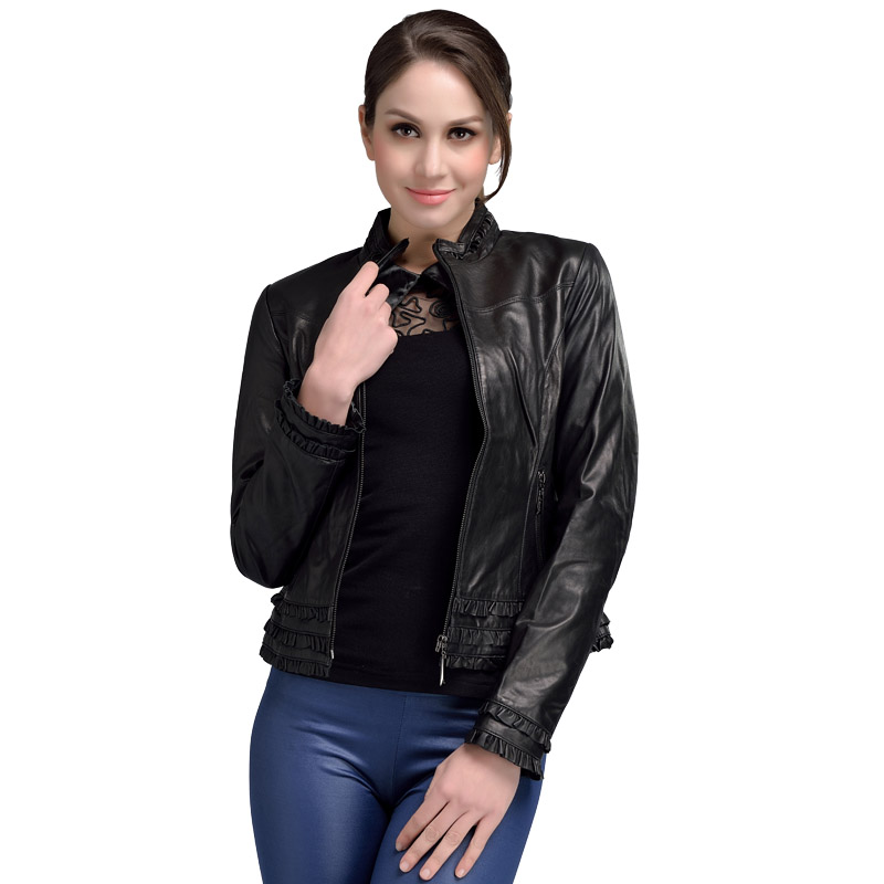 2017 lente gegarandeerd lederen jas vrouw zwarte standaard kraag elegante schapenvacht lederen jas korte oversize 4XL 1293
