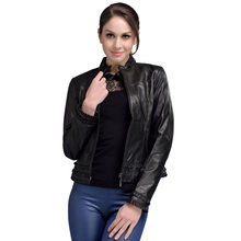 2017 Spring Guaranteed Genuine Leather Jacket Woman Black Stand Collar Elegant Sheepskin Leather Jacket Short Plus Size 4XL 1293(China)