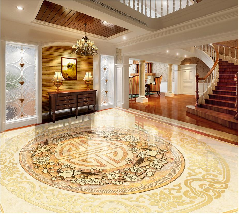 Photo floor wallpaper 3d stereoscopic marble 3D stereoscopic wallpaper floor 3D wall mural flooring free shipping 3d cobblestone fish figure koi flooring wallpaper bathroom park decorative waterproof floor mural