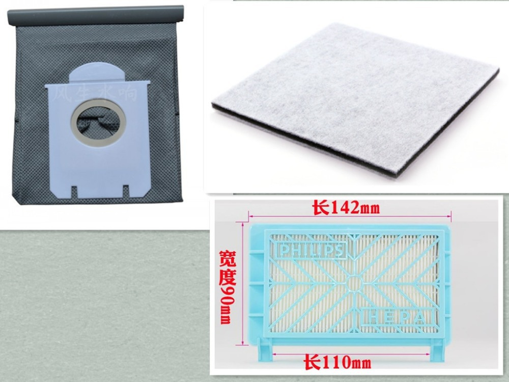 3Pcs/Lot Vacuum Cleaner Accessories kit HEPA Filter+Motor filter+cloth dust bag for Philips Vacuum Cleaner parts replacement foam felt filter kit for shark rotator powered lift away xl capacity nv755 uv795 vacuum cleaner replacement