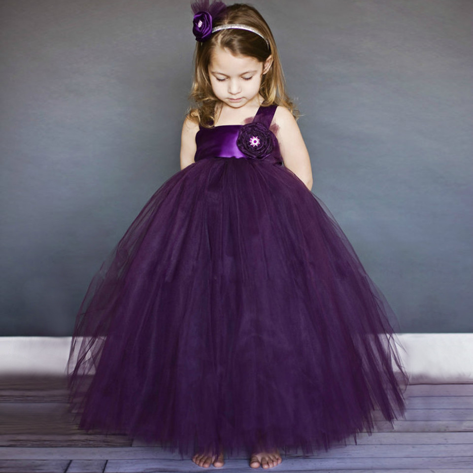 2019 Purple Princess Cute Tutu Ball Gown Flower Girl Dresses for Weddings Puffy Tulle Bow Girls Birthday Party Dresses Any Size