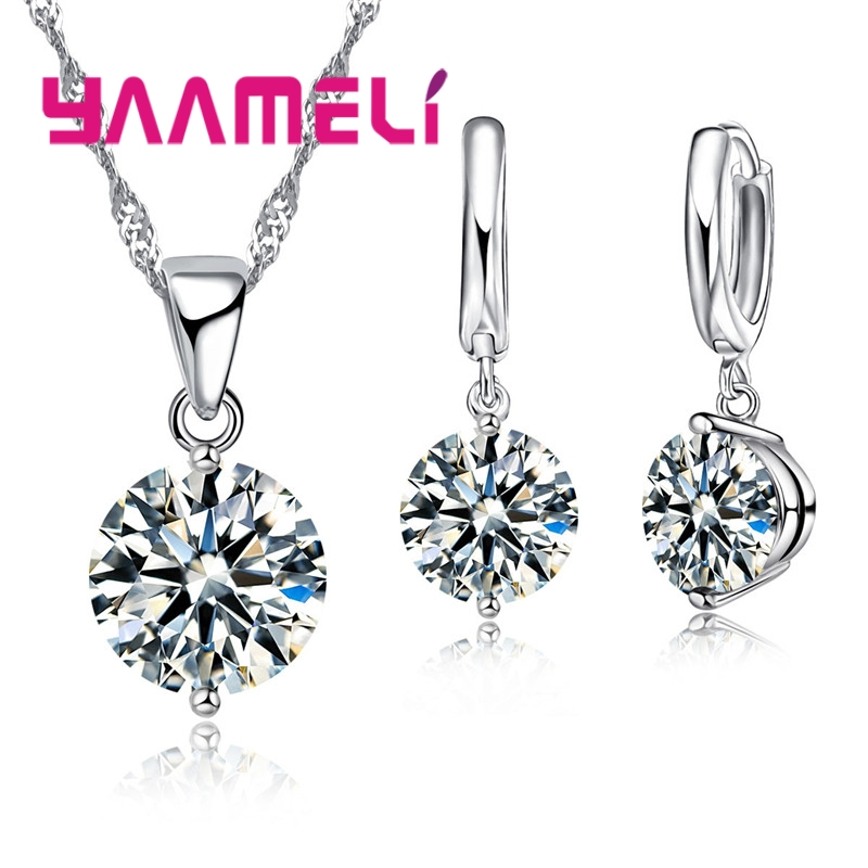 YAAMELI Free Shipping New Arrival Wedding Jewelry Set 925 Sterling Silver Multiple Colors Cubic Zircon Necklace/Earrings Sets