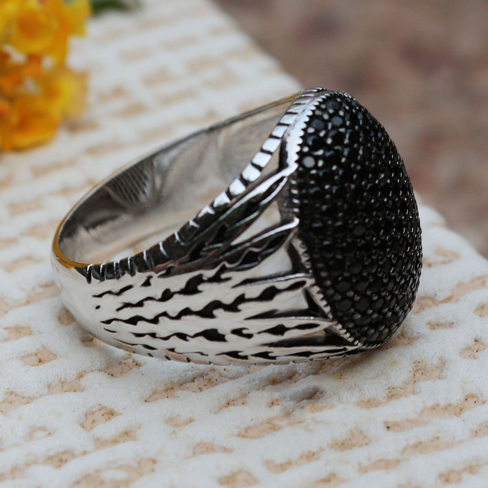Real Pure 925 Sterling Silver Mens Ring Hollow Design Multi Black CZ Stones Inlaid Cocktail Rings Oval Shape Turkey Jewelry