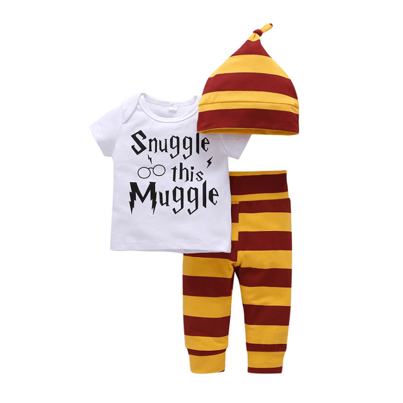 Newborn Baby Clothing Set Cotton White Letters Snuggle This Muggle T-shirt + Yellow Striped Pants Children's Boys Girls Clothing boys clothing set despicable me cotton minion clothing sets unisex sport suit 3pcs coat t shirt pants baby boys girls clothes