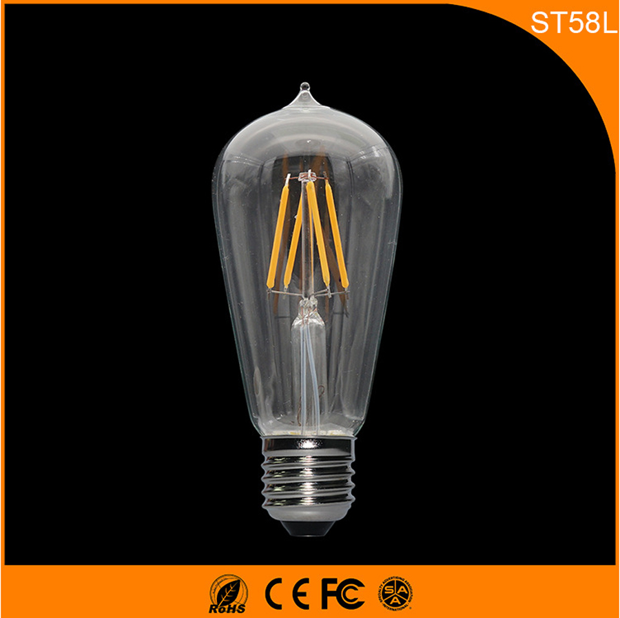 50PCS E27 B22 LED Bulb Retro Vintage Edison, 3W ST58L Led Filament Glass Light Lamp, Warm White Energy Saving Lamps Light AC220V 5pcs e27 led bulb 2w 4w 6w vintage cold white warm white edison lamp g45 led filament decorative bulb ac 220v 240v