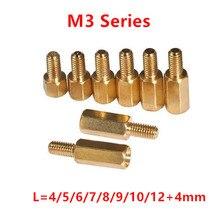 100 stücke 3mm Gewinde M3 Hex Messing Standoff Spacer Männlich zu Weiblich Messing abstand schrauben säule M3 * 4 /5/6/7/8/9/10/11/12/13/14 /16 + 4mm