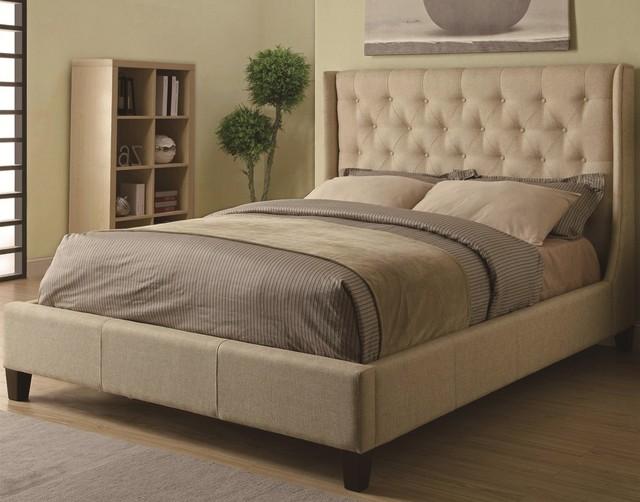 Fb1516 cama somier tapizado copetudo cabecero muebles de dormitorio ...