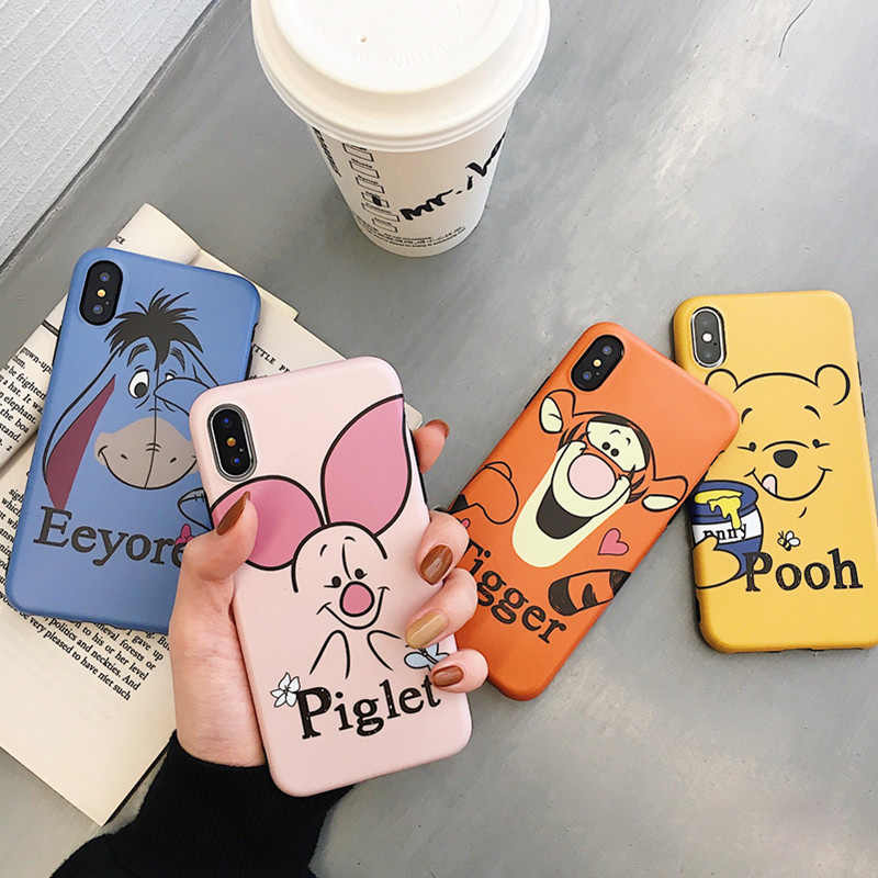 Cute Winnie Pooh Tigger Piglet Eeyore Soft Silicone phone Case for iphone 6 6s 7 8 plus Cartoon Back Case for iphone X XR XS MAX