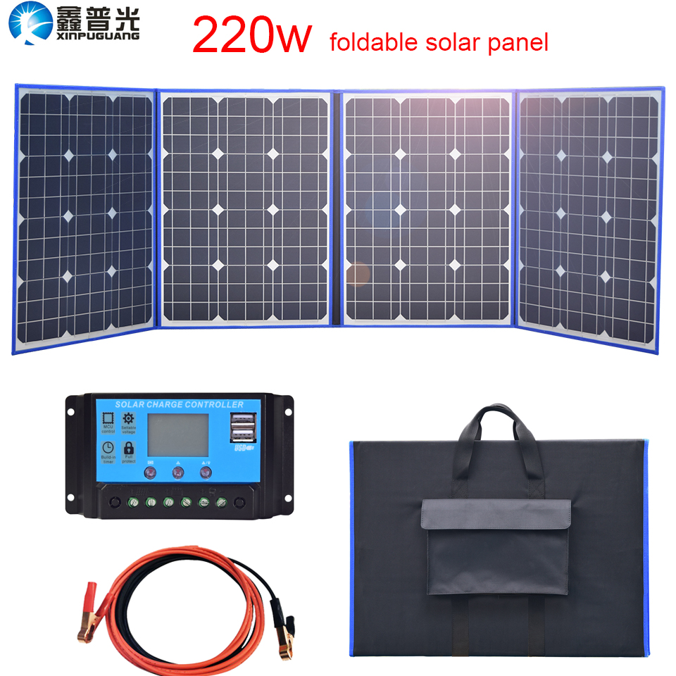 220W 18v Foldable Solar Panel Flexible 200w kit Mono Portable USB Charger for home phone tablet