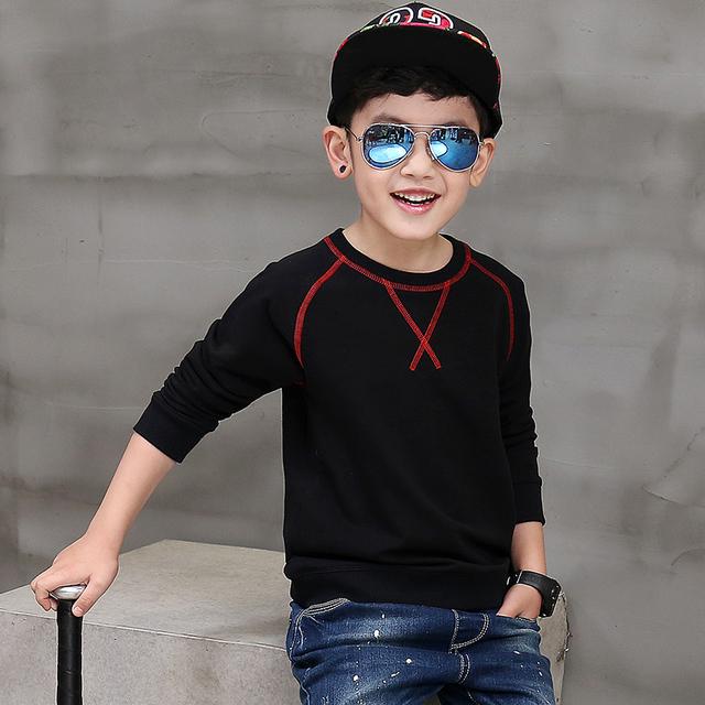Pioneer crianças 2016 new top moda sólidos outono inverno 100% algodão t camisa longsleeve meninos t-shirt crianças pullovers tee roupas