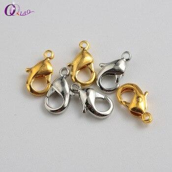 00d8ffd09d6 100 unids lote 6x12mm plata Metal dorado langosta broches para hacer joyas  DIY