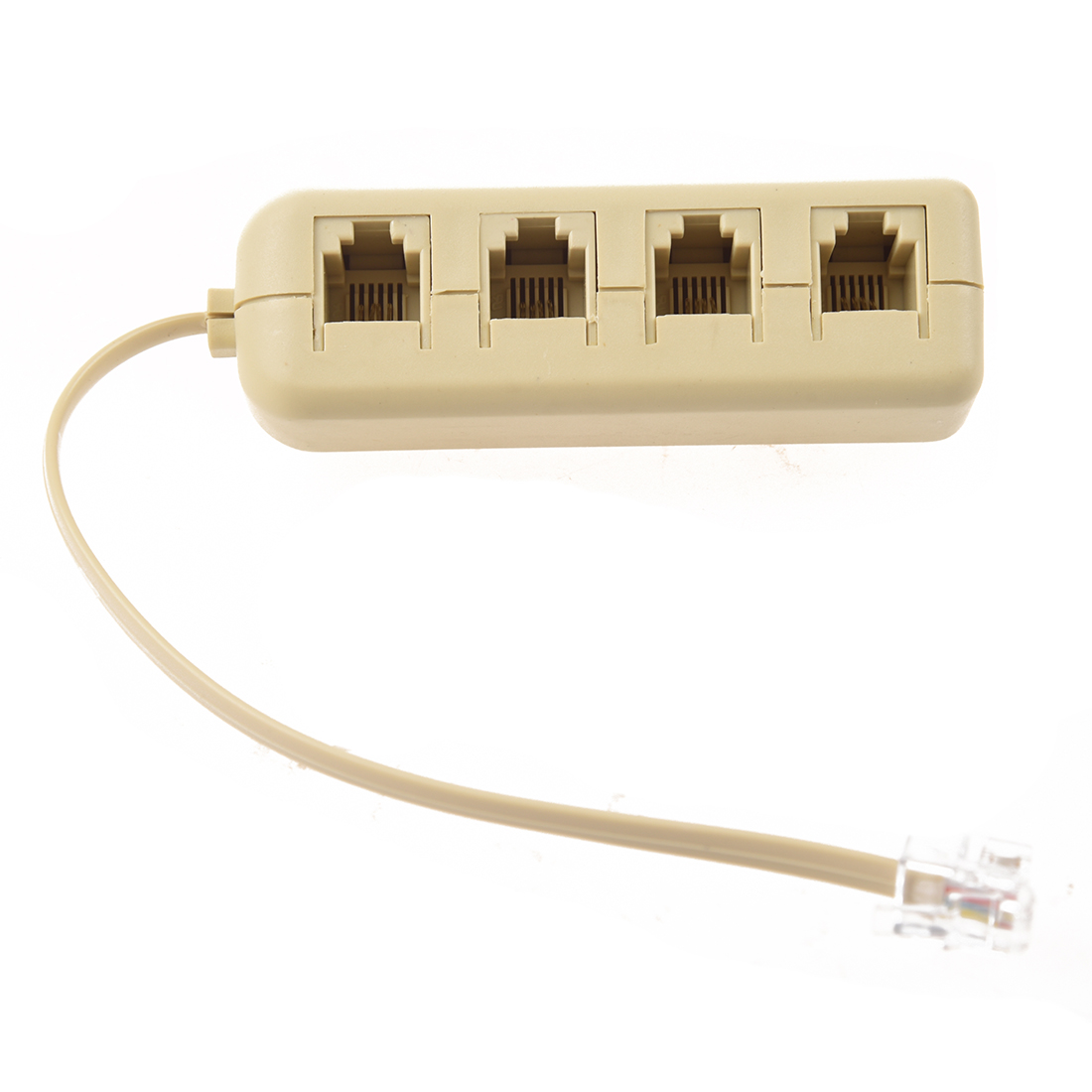 WSFS Hot Sale RJ11 6P4C to 6P4C 4 Way Telephone Line Modular Splitter Adapter White