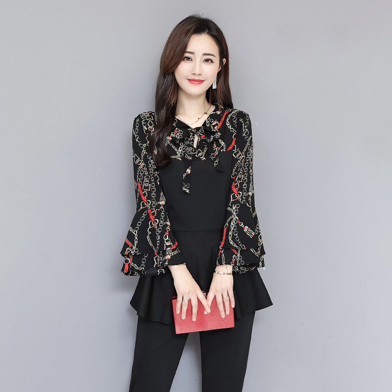 Black Elegant Printed Two Piece Sets Women Flare Sleeve Tunic Tops And Pants Suits Sets OL Style Casual Women's Sets Costumes 37