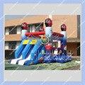 Calidad comercial Coches Hinchables Inflables con Tobogán Doble, Saltando Castillo Hinchable para Los Niños
